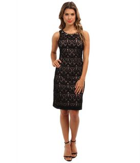 jessica howard sleeveless sheath dress w beaded yoke black tan