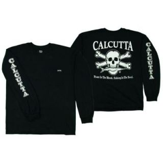 Calcutta Adult Double Extra Large Original Logo Long Sleeved Front Pocket T Shirt in Black 2488 0029