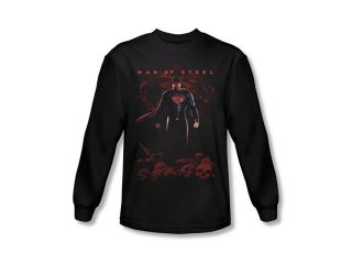 Man of Steel Superman Skulls Mens Long Sleeve Shirt