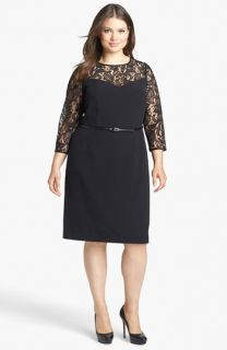 Adrianna Papell Lace Yoke Sheath Dress (Plus Size)