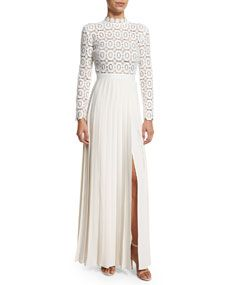 Self Portrait Long Sleeve Lace & Crepe Dress, Off White