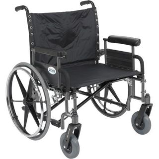 "Drive Medical Sentra Extra Wide Heavy Duty Wheelchair, Detachable Full Arms, 26"" Seat"