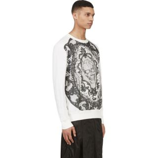 Alexander McQueen Cream Skull Lace Embroidered T Shirt