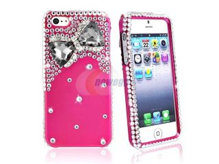 Insten Diamonds with 3D Hot Pink Bow Tie Snap on Case Cover + 2 LCD Kit (Front & Back) Anti Glare Screen Cover compatible with Apple iPhone 5