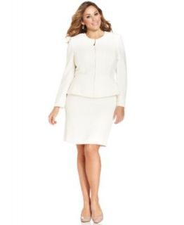 Le Suit Plus Size Textured Jacquard Three Button Skirt Suit