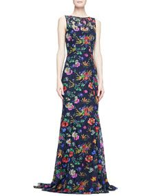 Badgley Mischka Sleeveless Floral Lace Gown