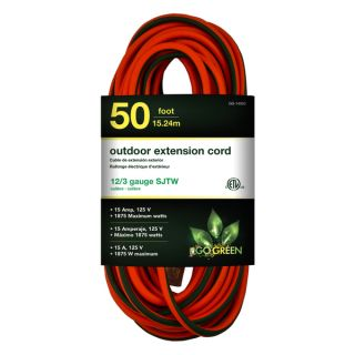 GoGreen Power 12/3 50 foot SJTW Outdoor Heavy Duty Extension Cord with