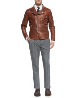 Brunello Cucinelli Oiled Calfskin Jacket, Button Down Collar Shirt & Double Pleated Wool Trousers