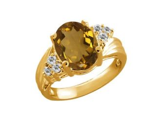 2.43 Ct Oval Whiskey Quartz White Sapphire 14K Yellow Gold Ring