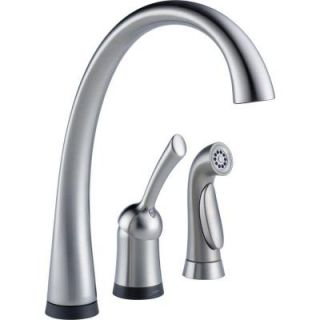 Delta Pilar Waterfall Single Handle Standard Kitchen Faucet with Side Sprayer and Touch2O Technology in Arctic Stainless 4380T AR DST
