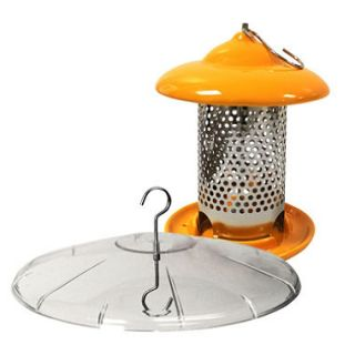 Bird Stop Ceramic Bird Feeder with Squirrel Baffle Bundle, Orange