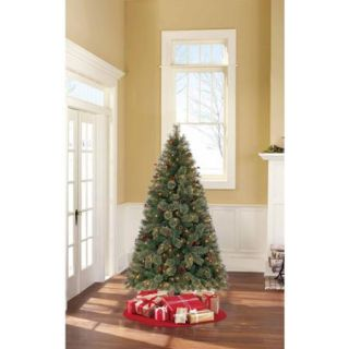Holiday Time Pre Lit 6.5' Woodland Spruce Artificial Christmas Tree, Clear Lights