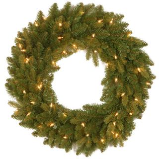 National Tree Co. Snowy Concolor Fir Pre Lit Wreath with 100 Clear