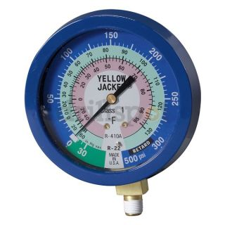 Yellow Jacket 49516 Gauge, 3 1/8In, Low Side, Liquid Filled