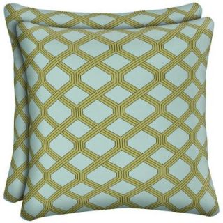 Hampton Bay Mitten Lattice Outdoor Throw Pillow (2 Pack) AD17554B D9D2