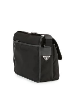 Prada Mens Large Nylon Messenger Bag, Black