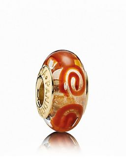 PANDORA Charm   Murano Glass & 14K Gold Orange Spirals, Moments Collection