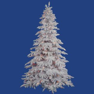 Vickerman 7.5 x 65 Flocked White Spruce Tree with 850 Multicolor