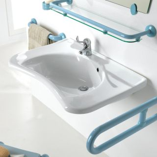 Ponte Giulio USA Sanitary Wares and Ancillaries Enamel White Wall Mount Semi Circle Bathroom Sink with Overflow
