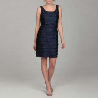 Jessica Howard Womens Navy Beaded Tiered Dress