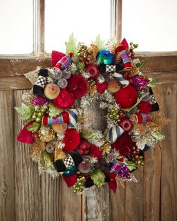MacKenzie Childs Small Holiday Frost Christmas Wreath