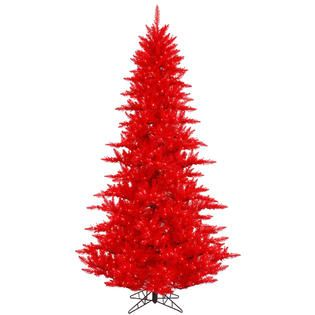 Vickerman 3 Prelit Red Fir Artificial Christmas Tree with 100 Red