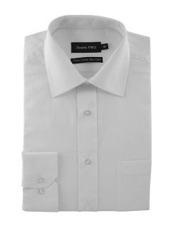 Double TWO Plain Poplin 100% Cotton Shirt White