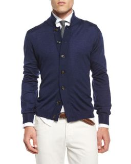Brunello Cucinelli Button Down Knit Cardigan, Navy