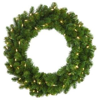 Home Decorators Collection 30 in. LED Pre Lit Downswept Douglas Fir Artificial Christmas Wreath 9316610610
