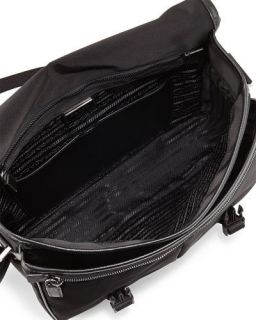 Prada Large Nylon Messenger Bag, Black