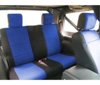 Coverking   Coverking Rear Black/Blue Seat Covers Neoprene SPC205   Fits 2007 to 2010 JK Wrangler and Rubicon