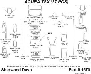 2004 2008 Acura TSX Wood Dash Kits   Sherwood Innovations 1570 CF   Sherwood Innovations Dash Kits