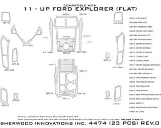 2011, 2012, 2013 Ford Explorer Wood Dash Kits   Sherwood Innovations 4474 AJ   Sherwood Innovations Dash Kits