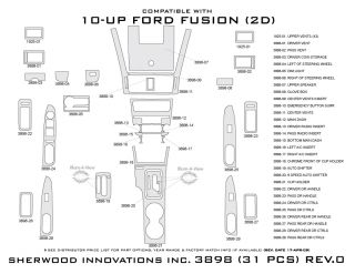 2010, 2011, 2012 Ford Fusion Wood Dash Kits   Sherwood Innovations 3898 CF   Sherwood Innovations Dash Kits