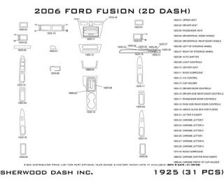 2006 2009 Ford Fusion Wood Dash Kits   Sherwood Innovations 1925 N50   Sherwood Innovations Dash Kits