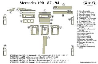 1987 1992 Mercedes Benz 190 Wood Dash Kits   B&I WD155A DCF   B&I Dash Kits