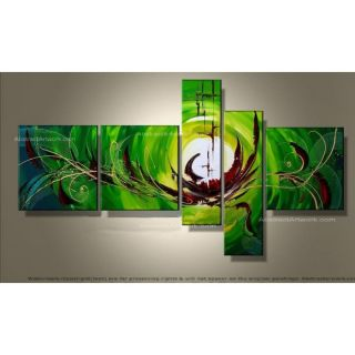 Design Art Modern Abstract 5 Piece Original Painting on Canvas Set in