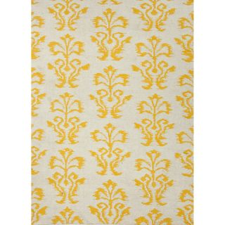 Handmade Flat Weave Floral Pattern Yellow Rug (5 x 8)