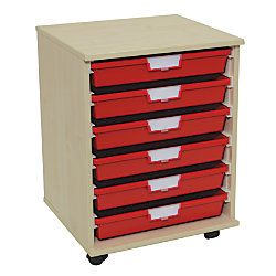 Storsystem Extra Wide Wood Storage Cabinet 6 Single Depth Trays 20 38 x 20 14 x 18 34  Pearwood