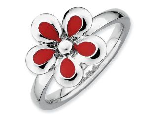 Sterling Silver Stackable Expressions Polished Red Enameled Flower Ring, Size 6