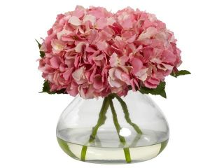 Nearly Natural Large Blooming Hydrangea With Vase In Pink
