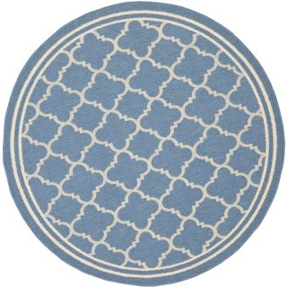 Safavieh Courtyard Blue and Beige Round Indoor and Outdoor Machine Made Area Rug (Common 5 x 5; Actual 63 in W x 63 in L x 0.33 ft Dia)
