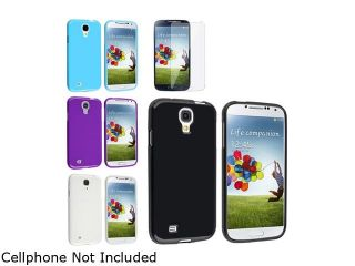 Insten 4pc Jelly TPU Rubber Coated Case + 2 Clear Screen Protector Film Compatible with Samsung Galaxy SIV S4 i9500