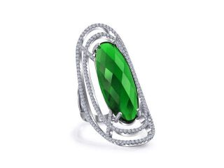 Bling Jewelry Simulated Emerald Glass CZ Oval Statement Ring Rhodium Plated
