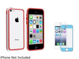 Insten Clear/ Red TPU Rubber Bumper with Blue Color Frame Screen Protector Compatible with Apple iPhone 5C 1475251