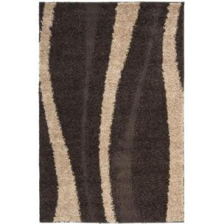 Safavieh Willow Shag Dark Brown/Beige 3 ft. 3 in. x 5 ft. 3 in. Area Rug SG451 2813 3