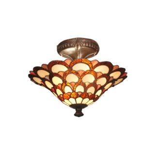 Dale Tiffany Peacock 2 Light Semi Flush Mount