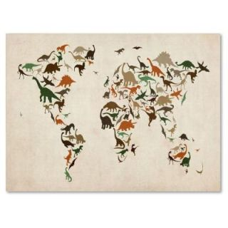 Trademark Fine Art 22 in. x 32 in. Dinosaur World Map 2 Canvas Art MT0210 C2232GG