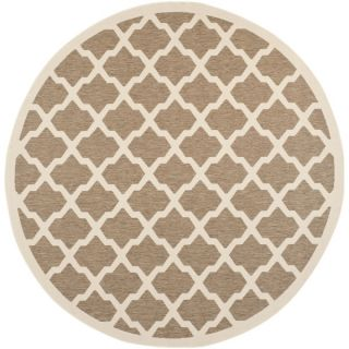 Safavieh Indoor/ Outdoor Courtyard Geometric Pattern Brown/ Bone Rug