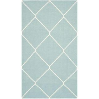 Safavieh Dhurries Light Blue/Ivory 4 ft. x 6 ft. Area Rug DHU635C 4